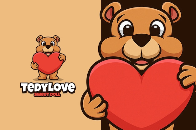 Tedy bear doll hug big love logo