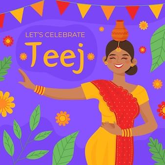 Teej 축제 축하 그림