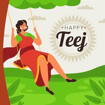 Illustrazione di celebrazione del festival di teej