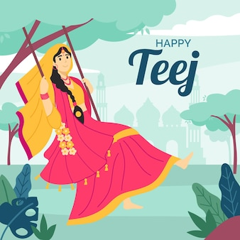 Иллюстрация празднования фестиваля teej
