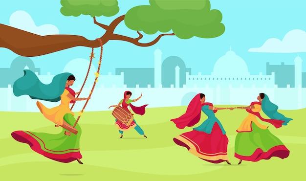 Teej festival flat color   illustration