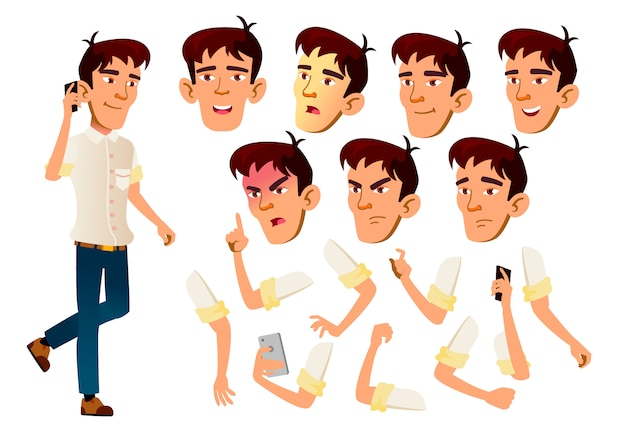 Подросток мальчик персонаж. азии. создание конструктора для анимации. лицо, эмоции, руки.