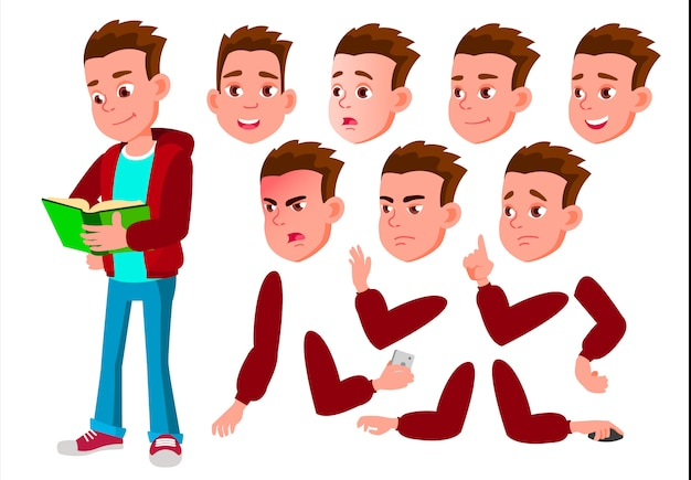 Teen boy character. european. creation constructor for animation. face emotions, hands.