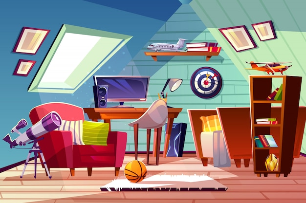 Teen boy kid attic room interior illustration. comfortable bedroom furniture