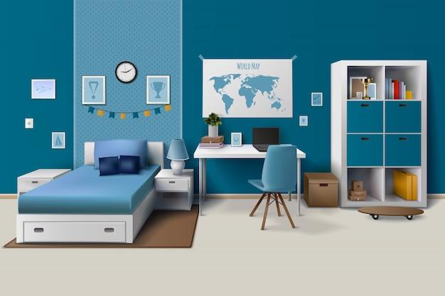 宿題の食器棚のためのトレンディなワークスペースを持つ10代の少年部屋のインテリアデザイン
