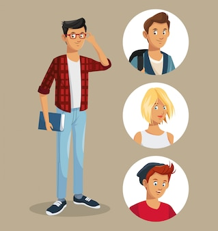 Teen boy with glasses book friends icons