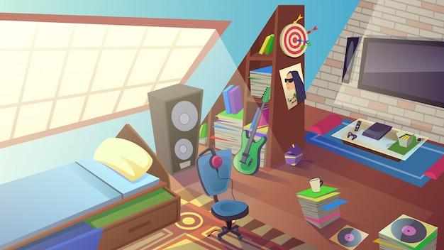 Teen boy интерьер спальни в дневное время. комната внутри