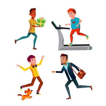Teen boys hurry running and exercising set