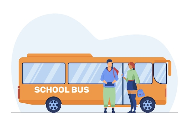 Teen couple standing at school bus. school students, boy and girl talking flat vector illustration. commuting, dating, youth