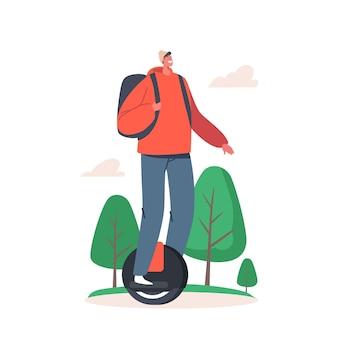 여름날 야외에서 외발 자전거를 타는 십대 자전거. 활동적인 스포츠 생활과 건강한 생활 방식 활동, 마을의 생태 바퀴 운송, 10대 남성 캐릭터 라이더. 만화 벡터 일러스트 레이 션