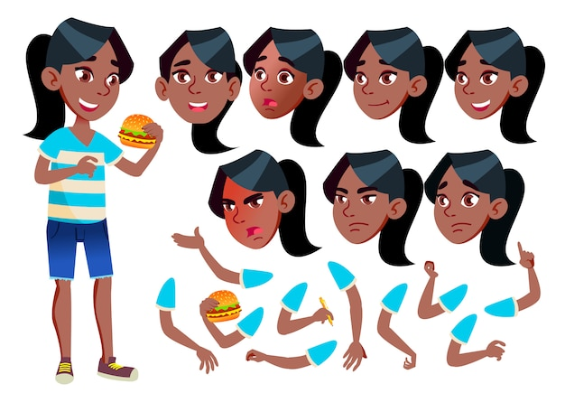 Teen girl character. african. creation constructor for animation. face emotions, hands.
