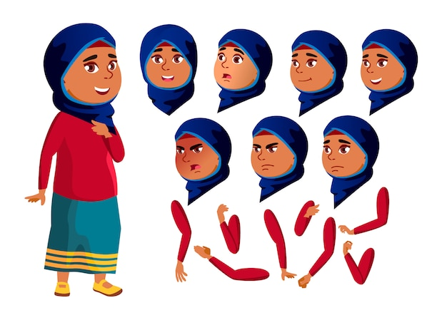 Teen girl character. arab. creation constructor for animation. face emotions, hands.