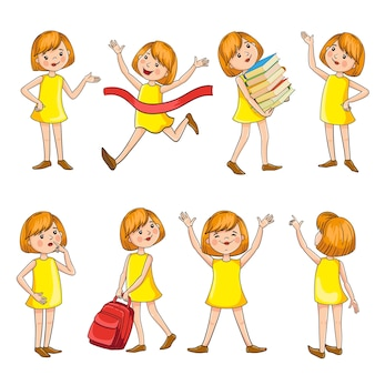 Teen girl character design in cartoon style. training, victory, fun, reading a book, backpack, character movement