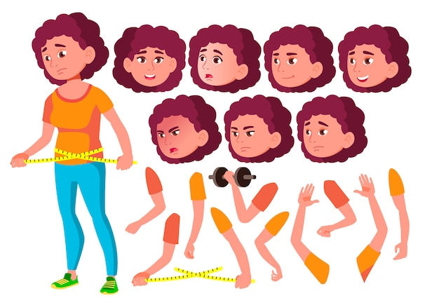 Teen girl character. european. creation constructor for animation. face emotions, hands.