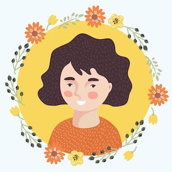 十代の少女の顔すごい表情漫画ベクトルイラスト黄色の背景redhで分離...