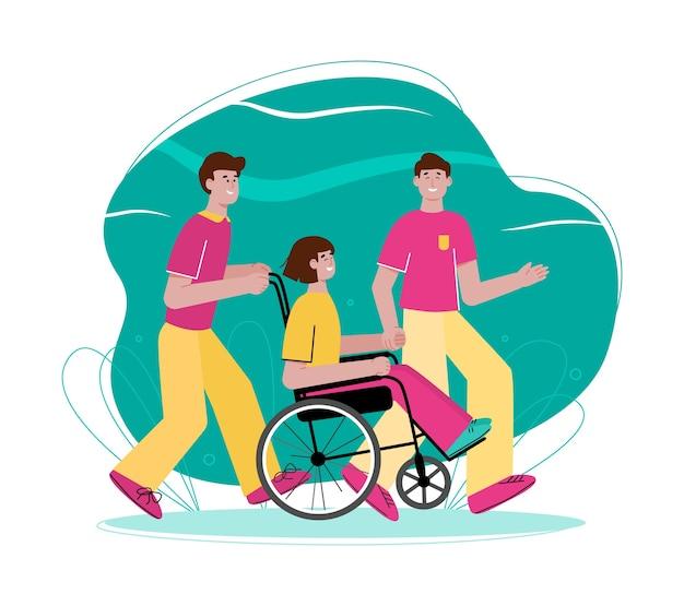 Девушка-подросток в инвалидной коляске с друзьями-мужчинами -