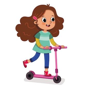 ベクトルイラストに乗ってスクーターに乗って十代の少女