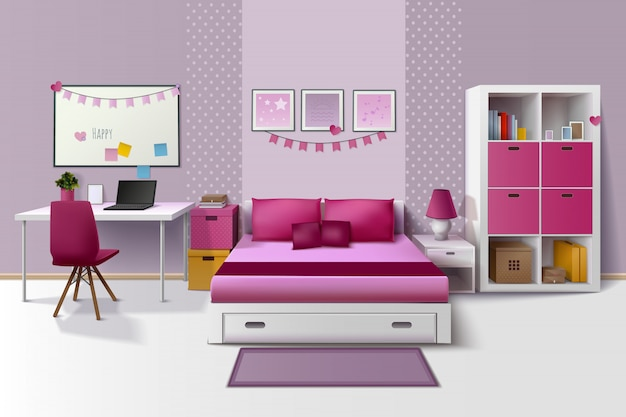 Teen girl room modern interior design with magnetic whiteboard cupboard and bed