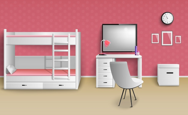 Teen girl room realistic