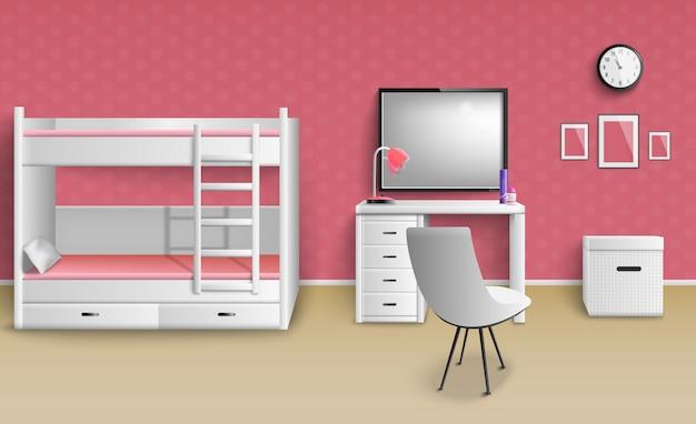 現実的な十代の少女の部屋
