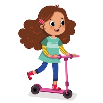 Teen girl on a scooter riding vector illustration