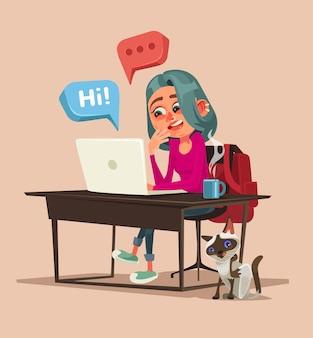 ネットワーク上で話したりチャットしたりする10代の幸せな笑顔の女の子のキャラクター。漫画