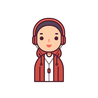 Teen hip hop avatar character vector illustration