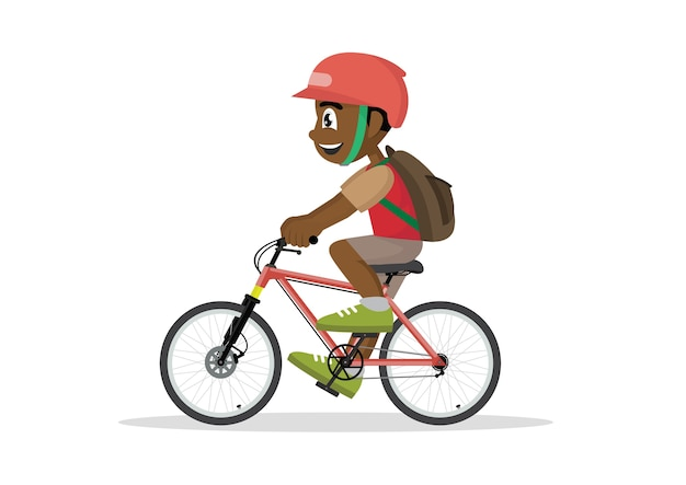 Teen kid school african boy cycling on bicycle.