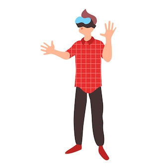 Teen learns in virtual reality glasses teenager wearing vr headset