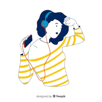 Teen listening to music in korean drawing style