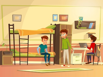 Teen male students group dormitory room. Boy characters discussing together