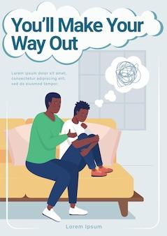 Teen mental health poster flat vector template