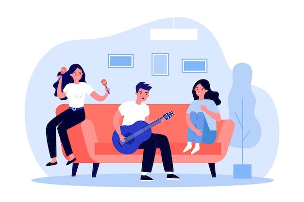 10代の音楽バンドが自宅で曲のリハーサルをしています。少女とギター、マラカスのイラストを弾く男。趣味、音楽教育、バナー、ウェブサイトまたはランディングウェブページのタレントコンセプト