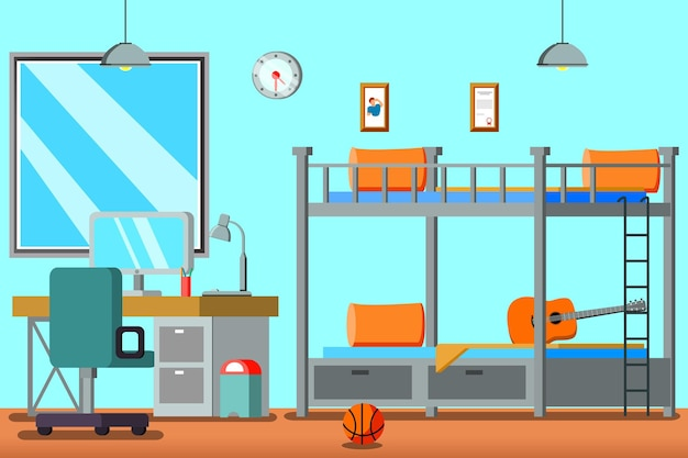 Teen room for boy flat composition with bunk bed desk with computer pictures on wall