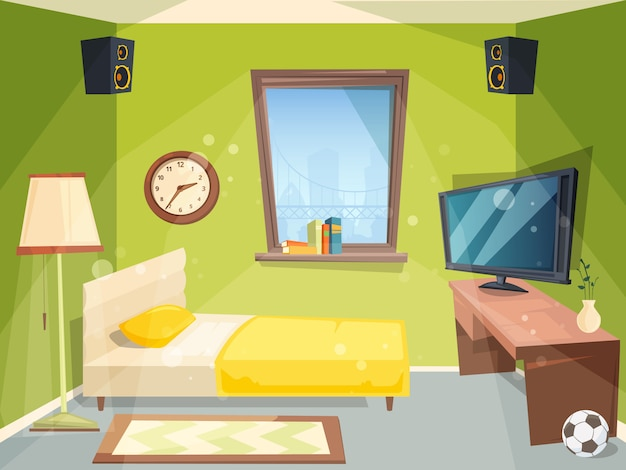 Teen room. small bedroom for kids student apartment inside of house modern interior cartoon