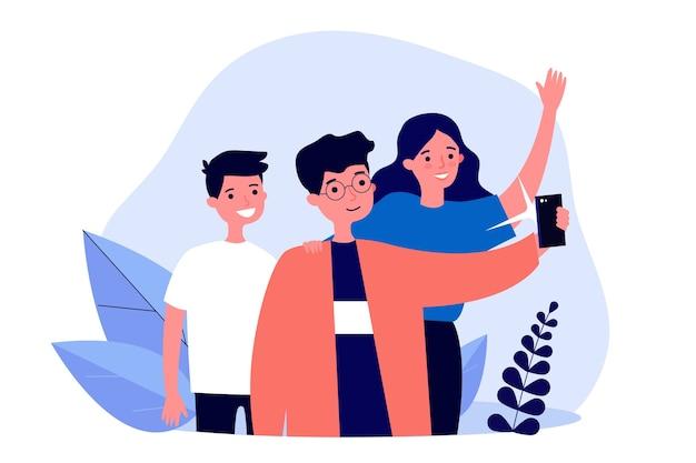 그룹 셀카를 복용하는 청소년 학교 친구. 소년과 소녀 스마트 폰 카메라 그림에 대 한 포즈. 레저, 우정, 배너, 웹 사이트 또는 방문 웹 페이지에 대한 사진 개념