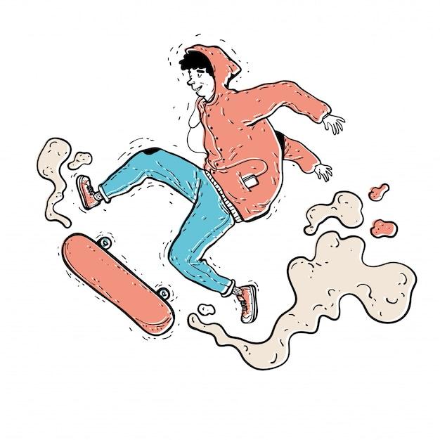 까마귀 운동복과 청바지 슬라이드에서 십대 스케이팅 선수