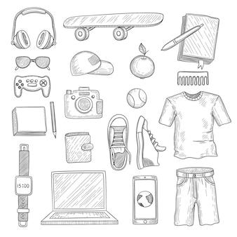 십대 액세서리. 젊은 사람 물건 요소 옷장 항목 현대 옷 헤드폰 가제트 손으로 그려진 된 세트.