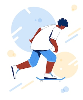 스케이트 보드에 스케이트 십 대 흑인 소년입니다.