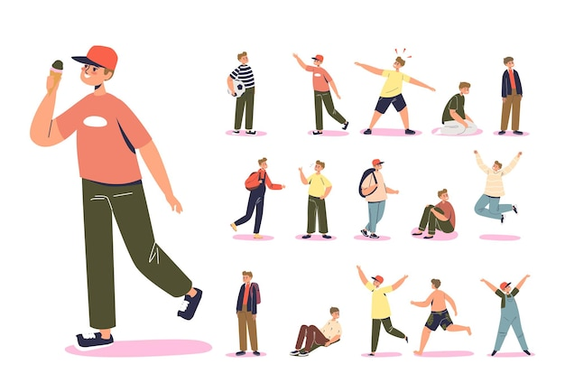 Teenage boy kid set: cartoon male child character lifestyle icons. schoolboy emotional with backpack, jumping, holding ball over white background. flat vector illustration