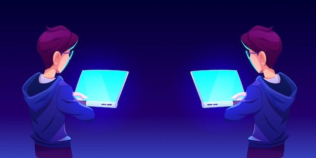 Подросток с помощью компьютерного приложения вид сзади