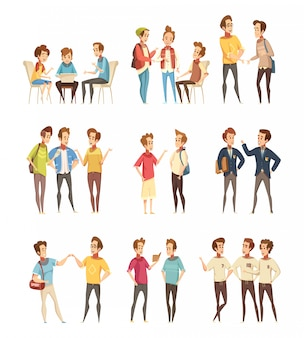 Teenage boys groups cartoon icons