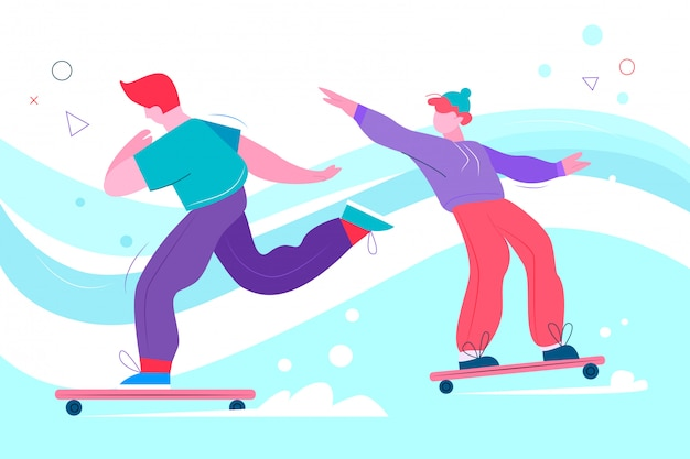 Подростки скейтбординг