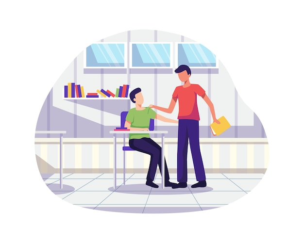 Teenage bullying and abuse concept. discrimination, racism and negative communication in school and society. vector illustration in a flat style