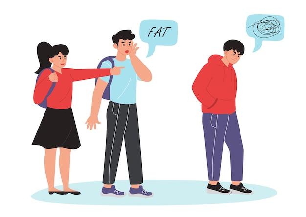 십대 괴롭힘과 학대 개념입니다. 조롱하는 십대, 십대의 공격성과 분노하는 십대.