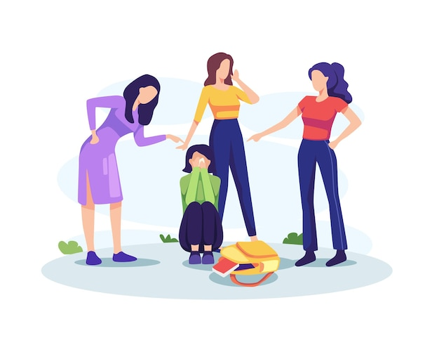 Teenage bullying concept illustration. sad teenage girl sitting on floor surrounded by classmates mocking her. vector in a flat style