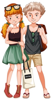 캐주얼 의상을 입은 십대 커플
