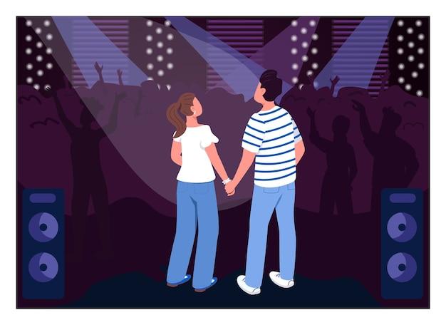 クラブフラットカラーの10代のカップル。コンサートホールでのパーティー。クリエイティブなデートのアイデアのための週末の楽しいエンターテイメント。背景に群衆と友達2d漫画のキャラクター