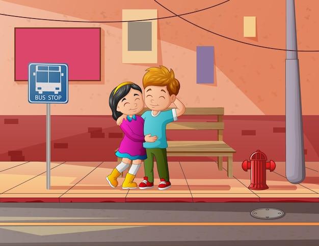 Teenage couple in the street