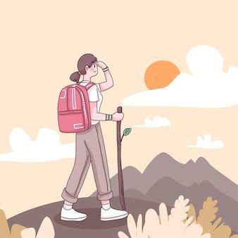 십대 여성 모험가는 만화 캐릭터, 평면 그림에서 하이킹과 등산을 즐깁니다.